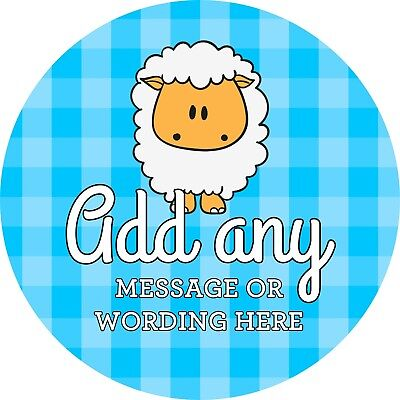 Baptism Unisex Sheep Sticker Labels for Party Bag Sweet Cones