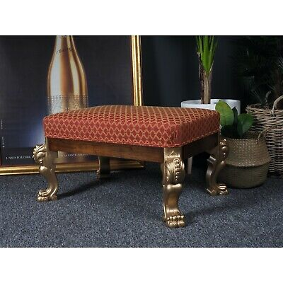 Handmade Footstool Antique Baroque Style Ornate Gold Legs & Feet UK DELIVERY