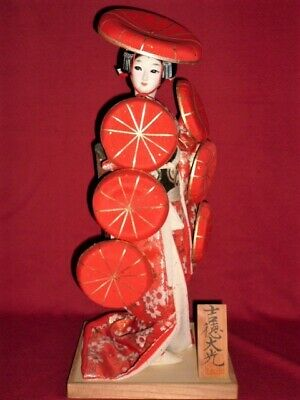 "Japanese Geisha doll HAT in Kimono 17"" on wooden base Red BEAUTIFUL vintage!!"