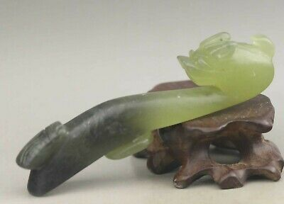 Chinese old natural jade hand-carved statue dragon pendant 3.8 inch