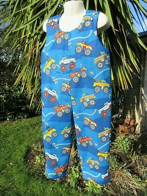 Adjustable Dungarees, Blue, Monster Trucks, 3-4 Years, New, Handmade