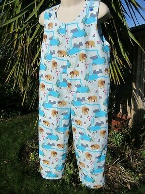 Adjustable Dungarees, Blue, Bears, 3-4 Years, New, Handmade