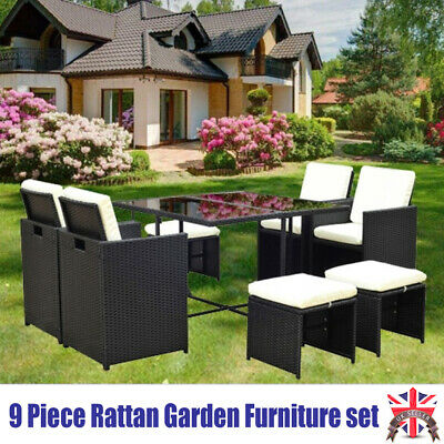 9Pcs Rattan Garden Furniture Set Sofa Chairs Table Conservatory Outdoor Wicker