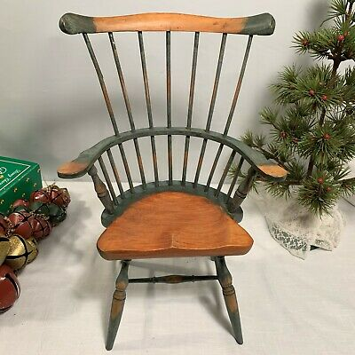 Windsor Style High Back Spindle Fan Back Two Tone Wood Doll Chair 15""