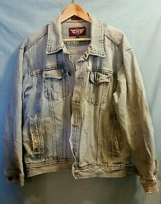 Men's Large Denim Gear Jean Jacket Distressed Ripped Staind Salvaged Look blue