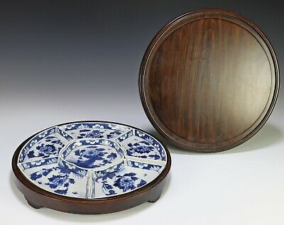 Antique Chinese Blue and White Porcelain Sweet Meat Plate Set with Box