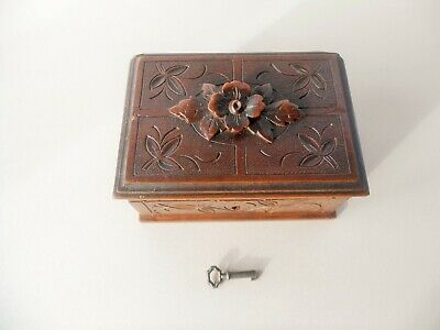 Antique German Black Forest Hand Carved Wood Box Flowers & Edelweiss