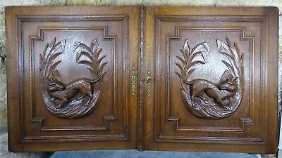 Pair Antique French Solid Oak Carved Wood Door/Panel  - Dog - Hunting