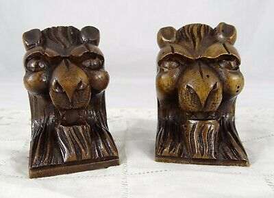 Antique French Pair Hand Carved Lion's Head Walnut Wood Salvage