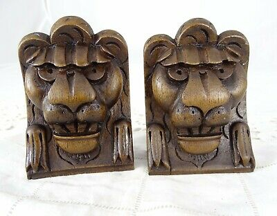 Antique French Pair Hand Carved Lion's/Chimera Head Walnut Wood Salvage