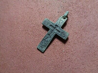 Russian empire old orthodox rare bronze pendant cross 1700-1800 AD original 241