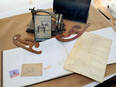 pre WW1 Clothing Pattern Book, WW1 trench sewing machine pic docs