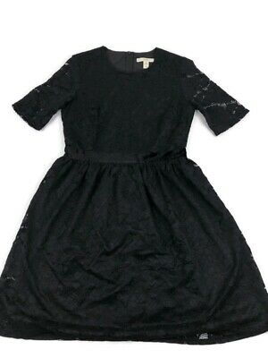 Lark Ro Womens Black Short Sleeve Embroidered Dress Size-10 (L1)