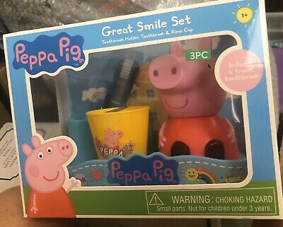 Peppa Pig Great Smile Set 3 Piece Gift Set Toothbrush Holder - NEW