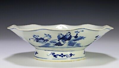 Antique Chinese Blue and White Porcelain Footed Dish with Figures