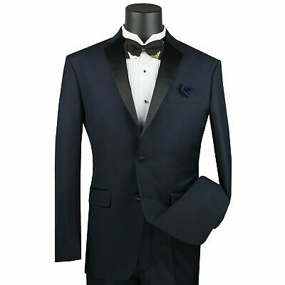 VINCI Men's Midnight Blue Slim Fit Formal Tuxedo Suit w/ Sateen Lapel & Trim NEW