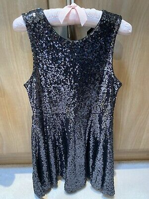 M&S Girls Pewter Party Sequin Sparkly Dress Age 8-9 Yrs Vgc