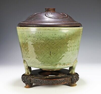 Antique Chinese Celadon Glaze Porcelain Pot with Stand - Ming Dynasty