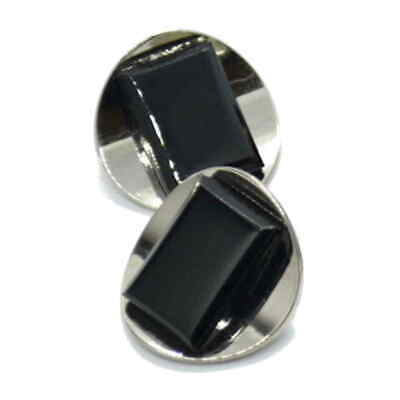 ART DECO STYLE SHANK BUTTONS BLACK CHROME 18mm and 25.5mm