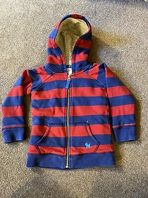 Mini Boden hoodie Boys Age 2-3 Red / Blue Stripe