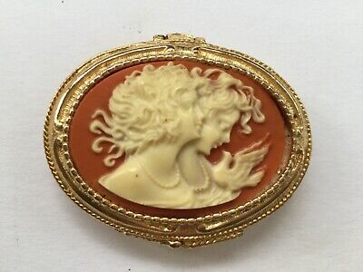 Vintage Toujours Moi Cameo Compact Solid Perfume Golden Camel Scent Gold Tone
