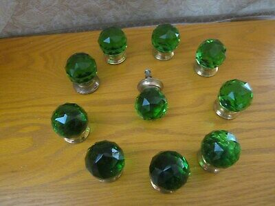 """10 Small Knobs, Cut Glass, Green 1.25"""" Dia with brass screw Ball shape"""