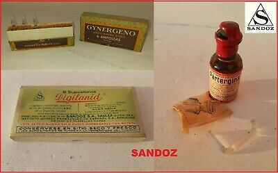 LOT- vintage Sandoz medicaments - ERGOTAMINES Albert Hofmann LSD pharmacy RARE