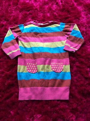 Next pink red blue knitted long sleeved jumper dress girls 2-3 years