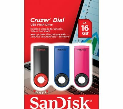 >SANDISK Cruzer Dial USB 2.0 Memory Stick - 16 GB, Pack of 3,Fast free post.