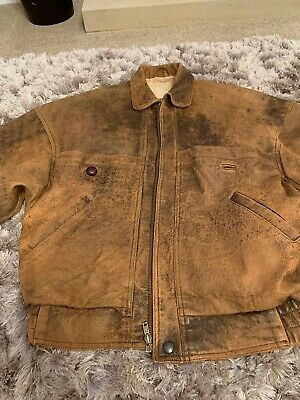 Retro Vintage Brown Leather Aviation Jacket Size M