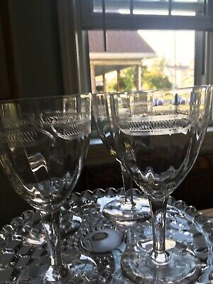 Antique Ribbed And Needlework Glass Wine Glasses Four Etched French Optic  Glass
