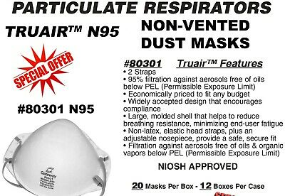 Face Masks N95 Particulate Respirator - New Box Of 20 Masks - Niosh - Truair