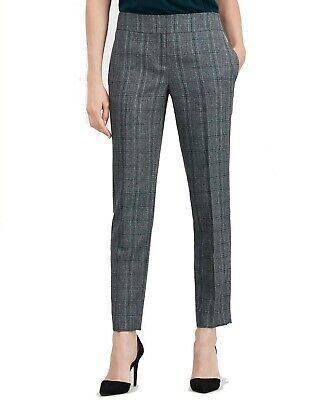 Kasper Womens Dress Pants Gray Fir Green Size 16 Plaid Straight-Leg $79 574