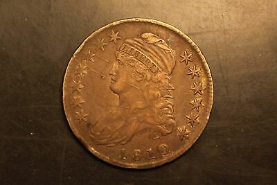 1810 Capped Bust 50c Silver VF details grafitti O-105 r.2 #RB4-7045