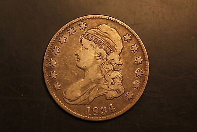 1834 Capped Bust 50c Silver F Fine O-107 r.1 #RB4-7051