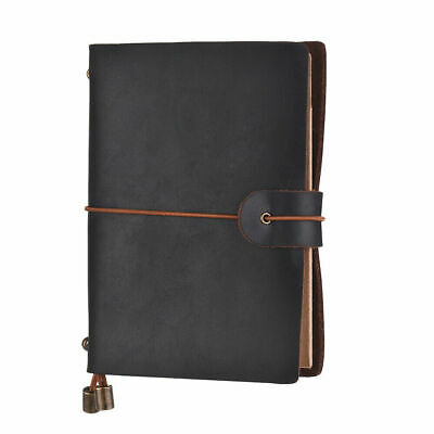 Dark Brown Refillable Retro Leather Travel Journal Sketch Notebook Soft Cover
