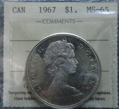 1967 Canadian Silver Dollar ICCS MS-65