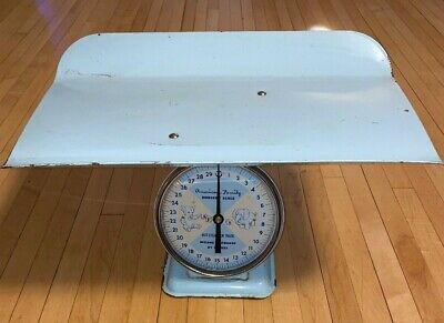 Vintage American Family Nursery Baby Scale Hospital Baby Blue Up To 30 Pounds