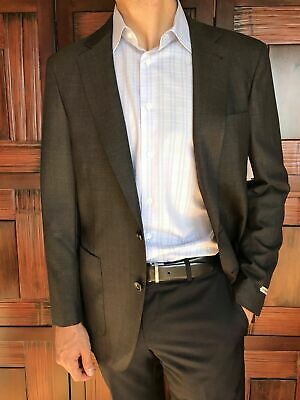 Peter Millar Dark Brown Wool Slim Fit Sport Coat Jacket Blazer Size L NEW $595