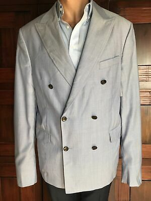 Peter Millar Double Breasted Seersucker Sport Coat Jacket Blazer Wool Size 44T