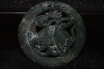 Chinese Ancient Hand carved old jade Amulet Pendant  D50