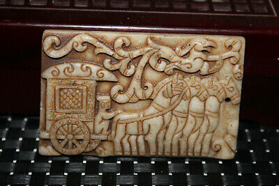 Chinese Ancient Hand carved old jade Amulet Pendant  D75