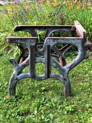 Antique Industrial Age Cast Iron Table Workbench Legs Steam Punk Barn Find