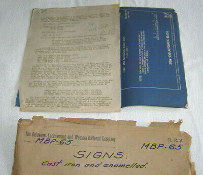"Vint. Set Of 5-Delaware,Lackawanna+Western Railroad ""Track Signs""Blueprints-1947"
