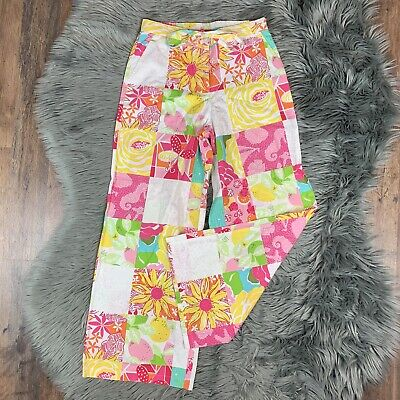 VTG Lilly Pulitzer Sz 2 Pink Yellow Sea Creature Checm Wide Leg High Waist Pants
