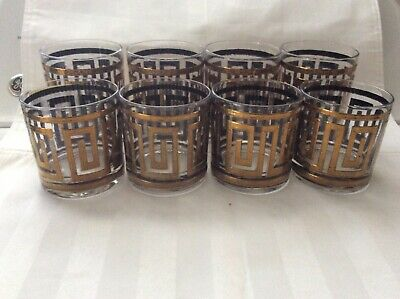 Vintage Set Of 8 Culver 22K Gold Crinkle Greek Key Old Fashioned Rocks Glasses