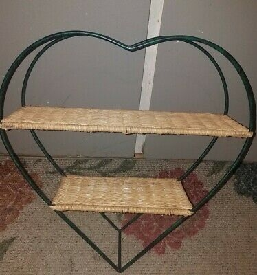 CHARMING Vintage HEART Shaped 2-TIER Wall Hung WROUGHT IRON & WICKER Shelf!