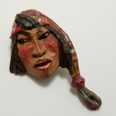 Vintage Figural Wood Button, Peruvian Man, Hand Carved Painted Chullo Hat Sewing