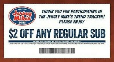 Jersey Mike's Sub Coupon $2 OFF ANY SUB Expires 3/15/2020
