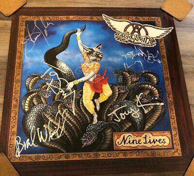 FULLY AUTOGRAPHED Aerosmith Nine Lives Banned Cover Poster READ DESCRIPTION